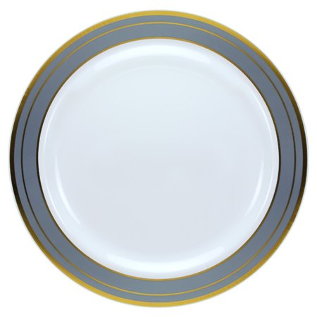 Platinum Rim Soup Plate - Lillian Dinnerware Magnificense Plastic Plate, 10.25