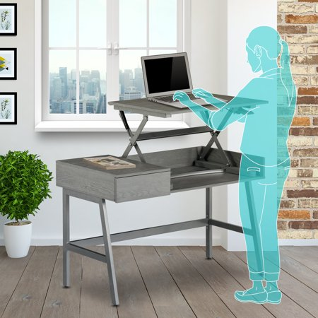 Techni Mobili Contemporary Sit-to-Stand Adjustable Standing Desk, Grey