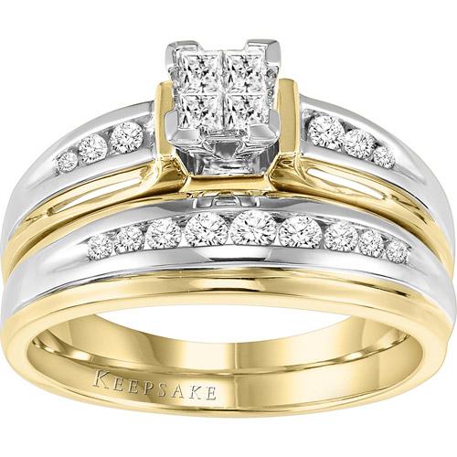 Keepsake Faedra 1/2 Carat T.W. Diamond 14kt Yellow Gold Diamond Bridal Set