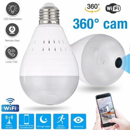 360° Panoramic View WiFi IP Bulb Camera with FishEye Lens 360 Degree 3D VR Panoramic View Home Security CCTV Camera Wirelss Security Camera Camera Security Cctv Cameras