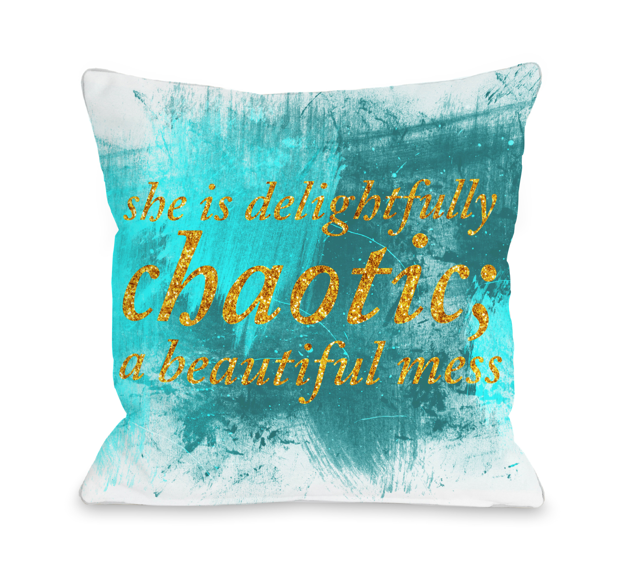 Delightfully Chaotic - White Turquoise 18x18 Pillow by OBC