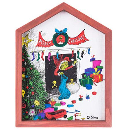 Dr Seuss The Grinch In The Fireplace Wood Wall Art Home Decoration Theater Media Room Man Cave