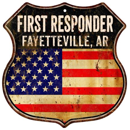 FAYETTEVILLE, AR First Responder American Flag 12x12 Metal Shield Sign S122674