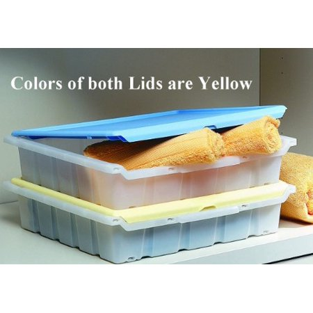 Hinged and Lidded Boxes Set, Plastic, Stackable Storage and Organization Closet Boxes, Italian (Set of 2