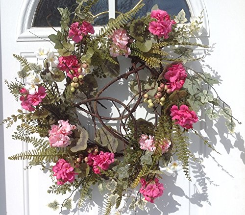 Melrose International Pink Geranium Ivory Wreath, 24-Inch
