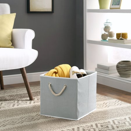 Better Homes and Gardens Storage Bin, Grey Stripe with Rope
