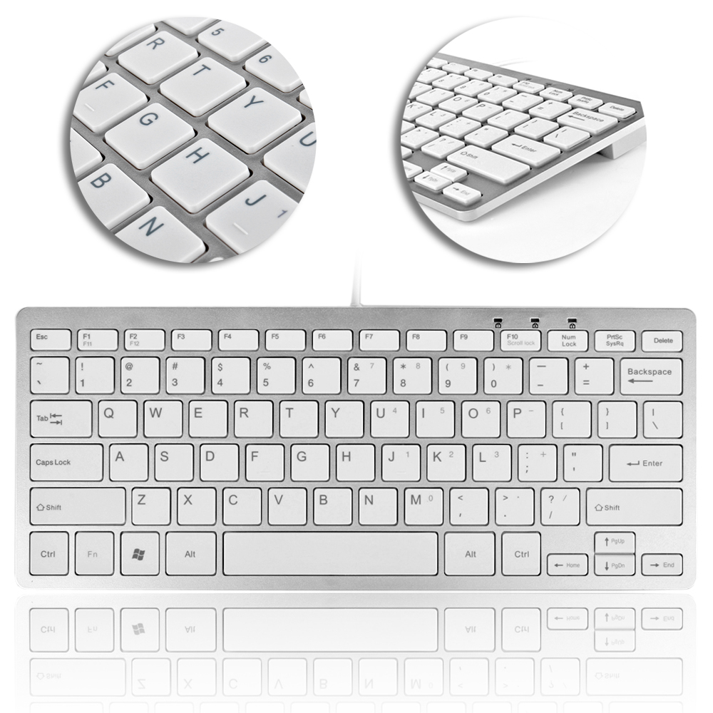 USB Mini Keyboard (Metallic Silver / White) Ultra Slim Portable Wired 78 Keys with Built-in Cable for PC Mac Notebook Laptop Netbook PS3 PS4 Xbox 360 One Windows 10 8 7 XP Vista