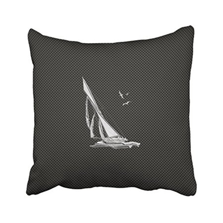 WinHome Square Throw Pillow Covers Retro Chrome Like Sailboat On Carbon Fiber Pillowcases Polyester 18 X 18 Inch With Hidden Zipper Home Sofa Cushion Decorative (Cost Of Carbon Fiber Per Square Inch)