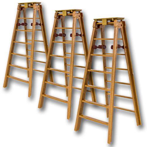 Set of 3 Brown Folding Ladders for WWE Wrestling Action Figures