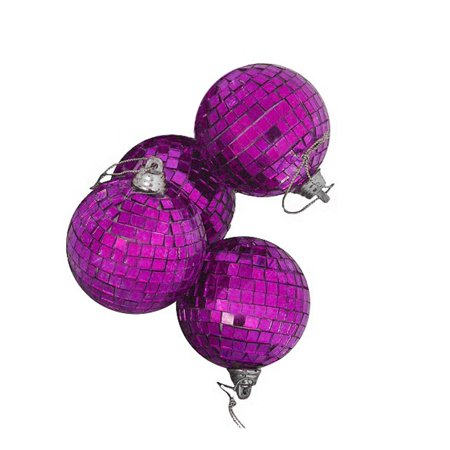 4ct Purple Mirrored Glass Disco Ball Christmas Ornaments 4