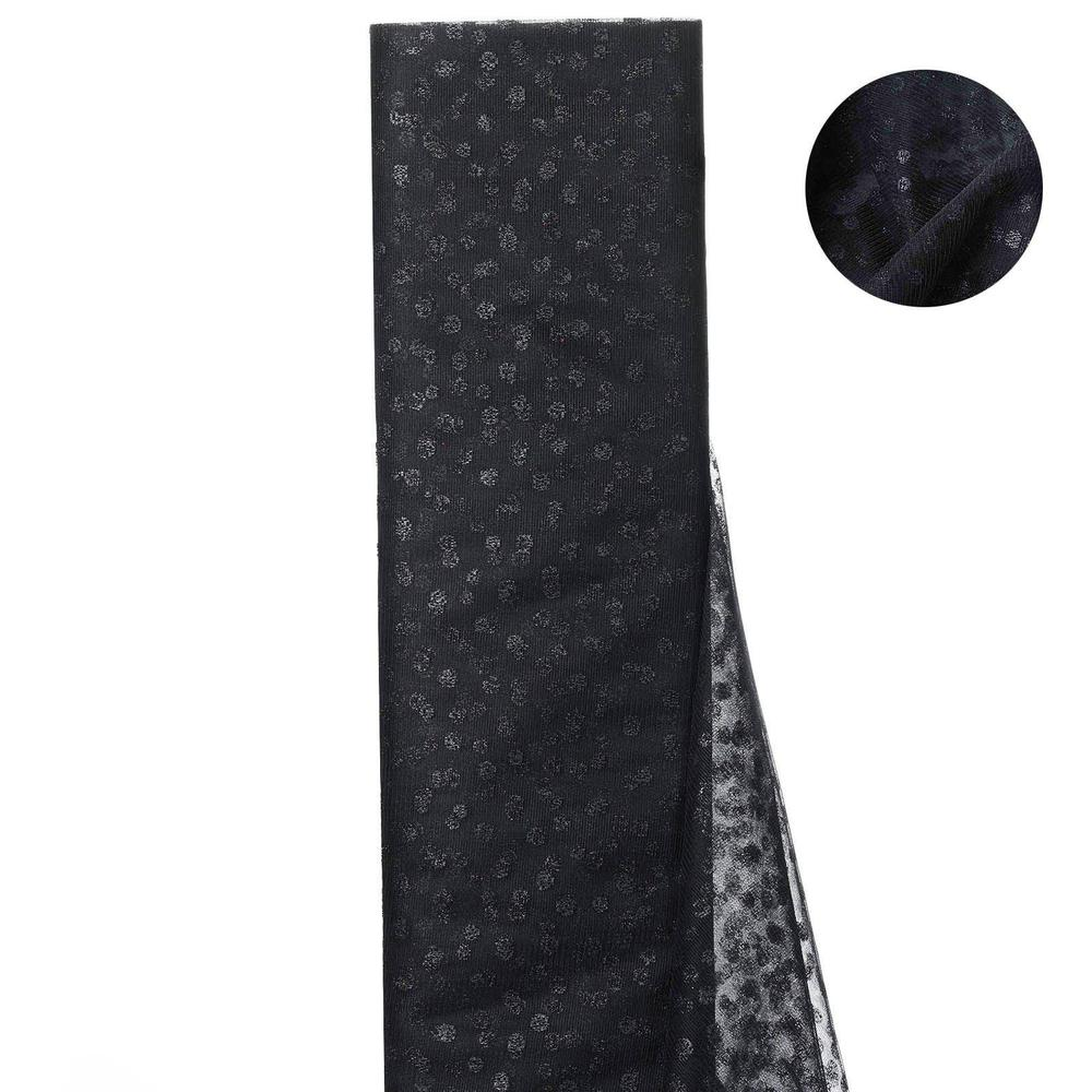 Glittered Polka Dot Tulle Fabric Black- 54 x 15 Yards