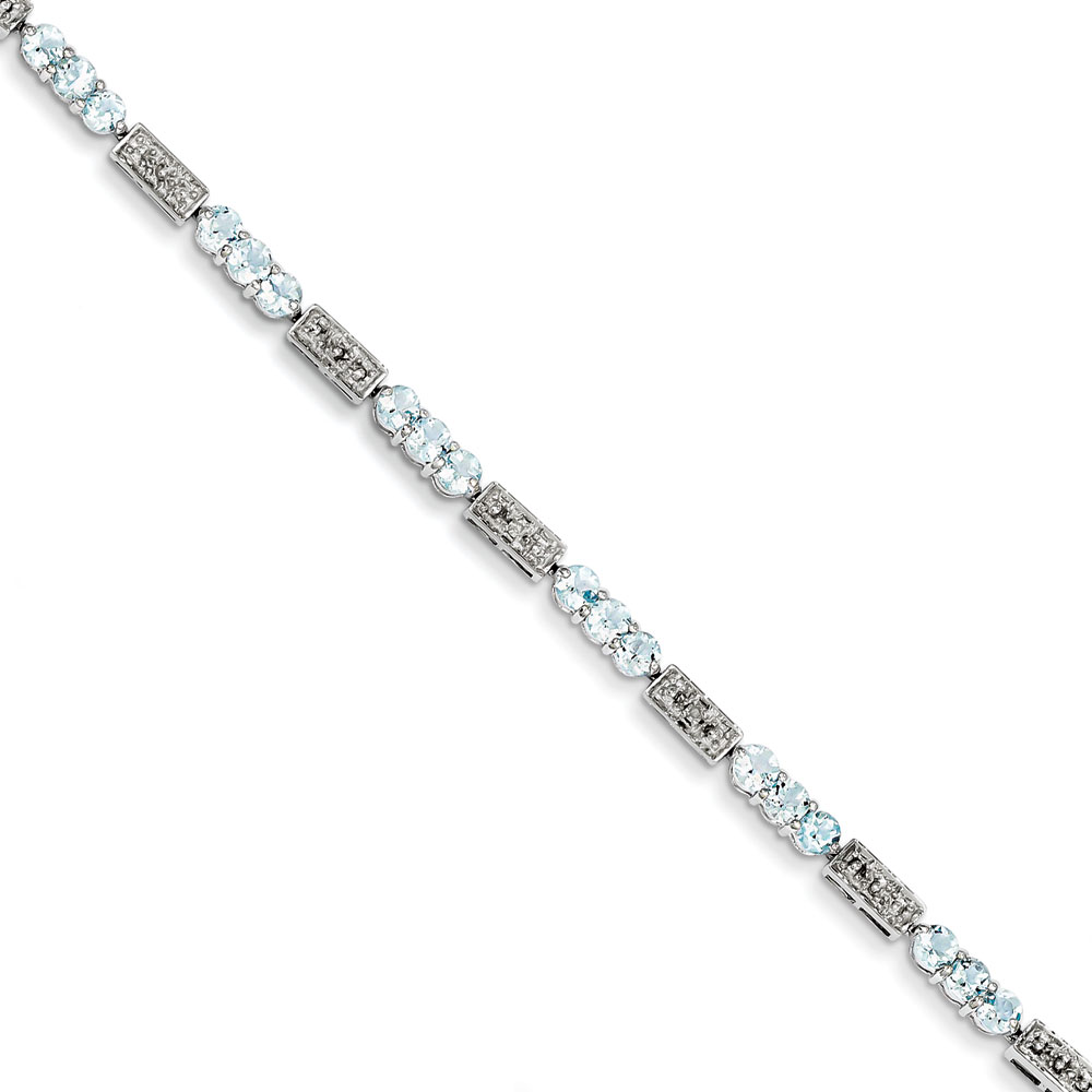 Sterling Silver Aquamarine and Diamond Bracelet .02 dwt 2.45 cwt by