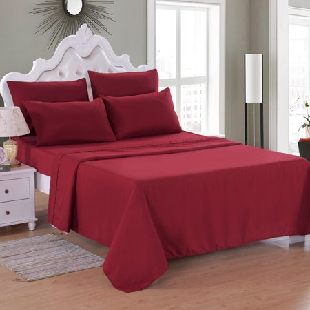"6 Piece Soft Microfiber Bed Sheet Set, Deep Pocket Up To 16"", Wrinkle & Fade Resistant Collection Bed Sheet Queen/King/Full/Twin"
