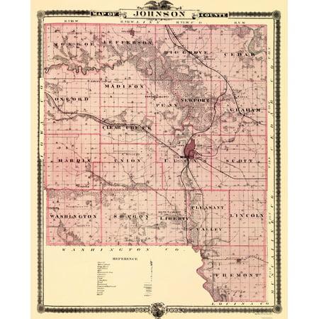 Old County Map   Johnson Iowa Landowner   Andreas 1874   23 X 28 44