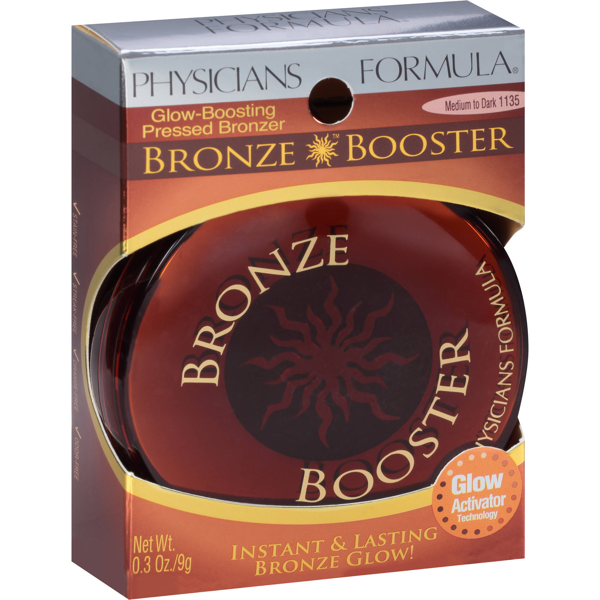 Physicians Formula Bronze Booster Glow-Boosting Pressed Bronzer, 1135 Medium to Dark, 0.3 oz