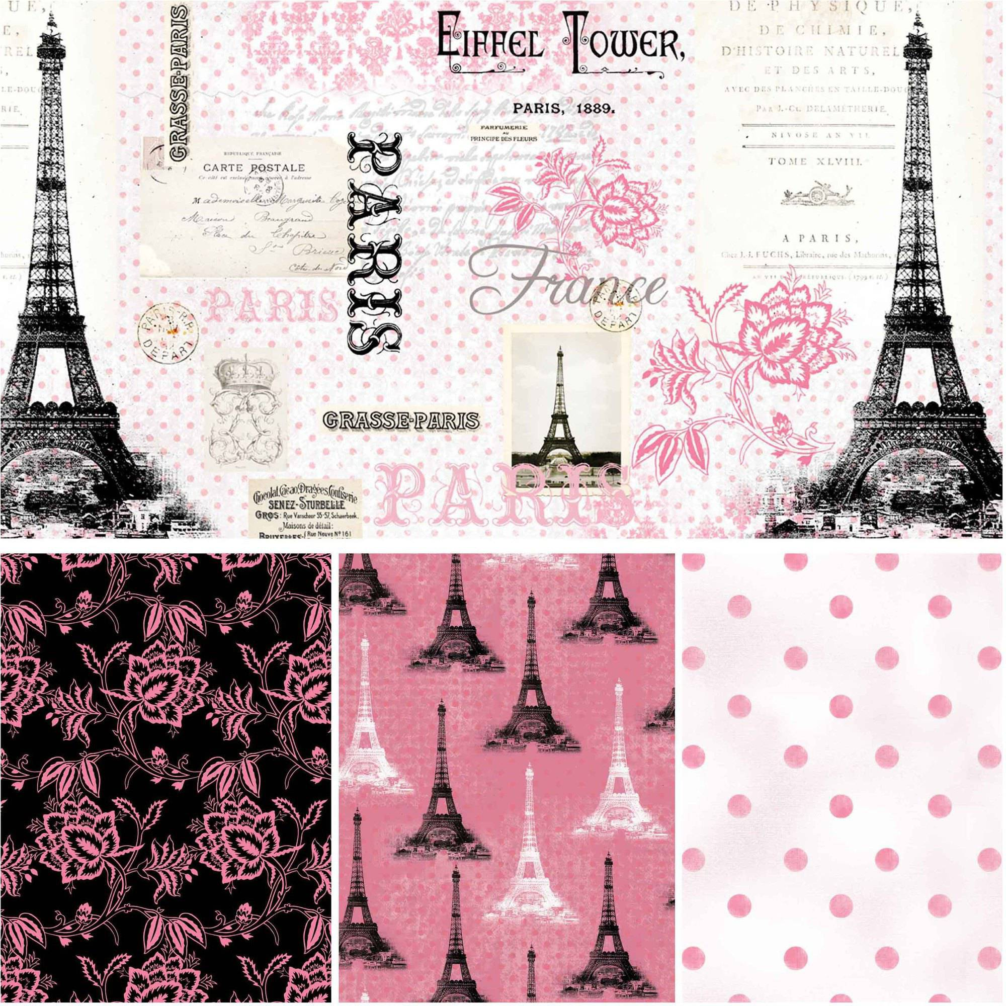 "David Textiles Paris Pink Collection 44"" Quilting Cotton By The Yard"