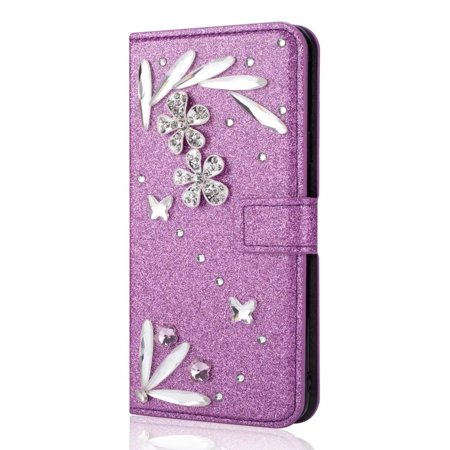 For HUAWEI Mate 10 Pro Diamond Feather Bling Leather Magnetic Flip Wallet Case , Purple