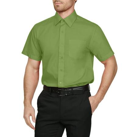 J. METHOD Men's Classic Regular Fit Button Down Short Sleeve Solid Color Dress Shirts