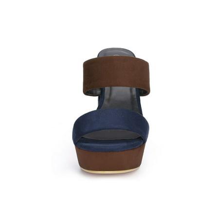 Unique Bargains Women's Color Block Platform Chunky Slide Sandals Brown (Size 9) - image 2 of 7