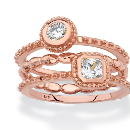 - Round and Square Cubic Zirconia 3-Piece Stackable Ring Set .62 TCW in Rose Gold over Sterling Silver