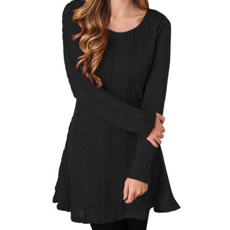 Womens Long Sleeve Mini Dress Casual Knitted Sweater Pullover Cable Party Jumper Tunic Round Neck Casual