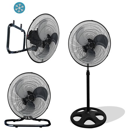 "Premium Large High Velocity Industrial Black Floor Fan 18"" Floor Stand Mount Oscillating"