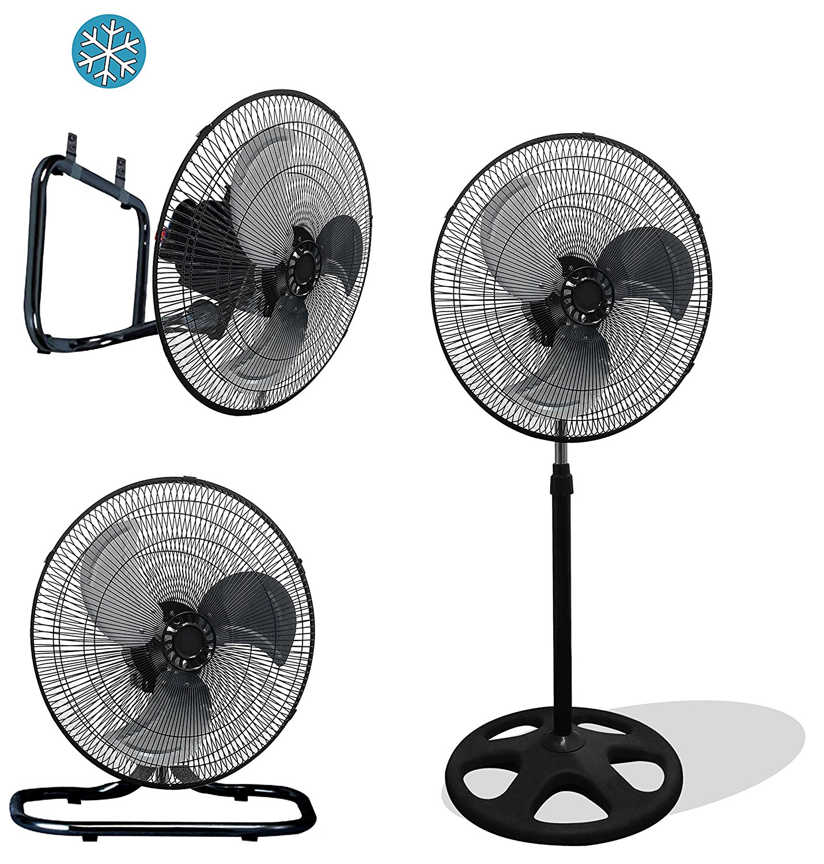 """Premium Large High Velocity Industrial Black Floor Fan 18"""" Floor Stand Mount Oscillating"""