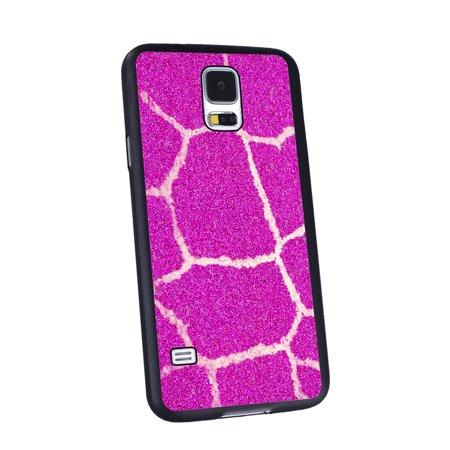 Black Giraffe Skin (KuzmarK Samsung Galaxy S5 Black Cover Case - Giraffe Skin Pink)
