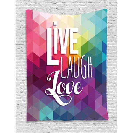 Live Laugh Love Decor Tapestry  Geometric Colorful Backdrop Polygonal Mosaic Happiness Quote Words  Wall Hanging For Bedroom Living Room Dorm Decor  60W X 80L Inches  Multicolor  By Ambesonne