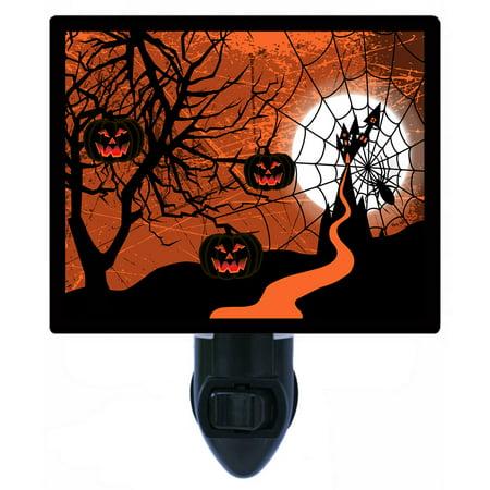 Night Light - Photo Light - Halloween Web - Spiders - Haunted House