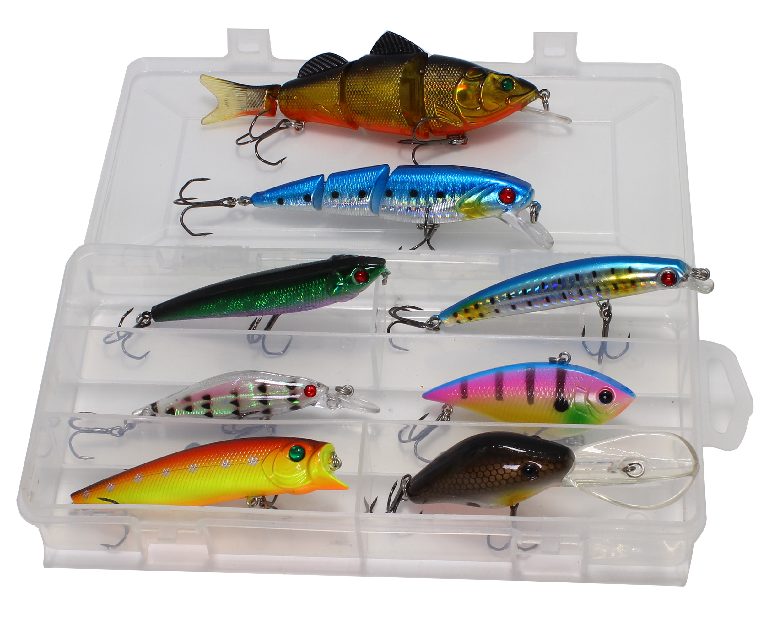Click here to buy LotFancy 8 PCS Fishing Lures and Storage Case, Spinner Baits Crankbait Assorted Fish Tackle Hooks, 3.35 to 5.5 Inches.