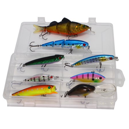 8 PCS Fishing Lures Bait Kit Including Multi-Jointed Swimbaits, Crankbaits, Minnow Lures for Walleye Bass Trout Salmon, Storage Tackle