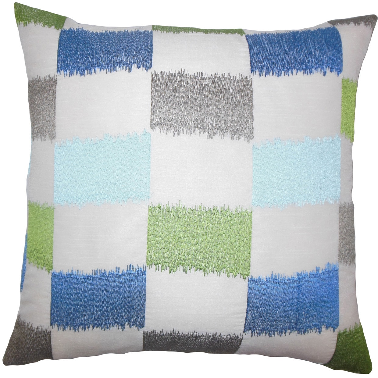The Pillow Collection Ruchel Geometric 24-inch Down Feather Throw Pillow - Blue Green