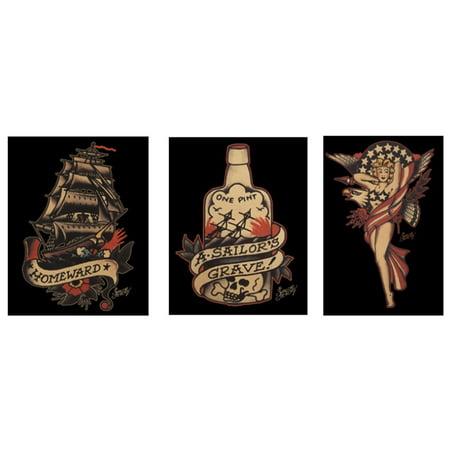 sailor jerry tattoo 3 piece sticker pack walmart com