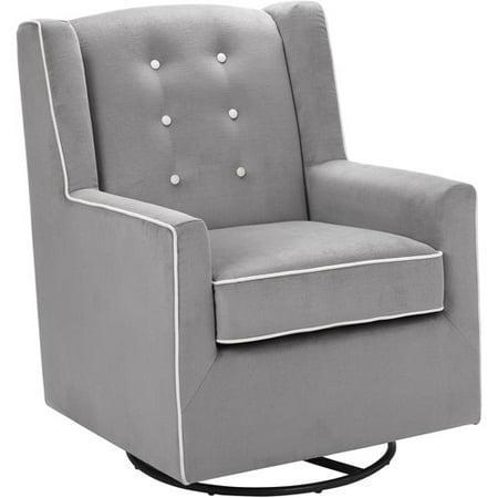 Baby Relax Emmett Button Tufted Swivel Glider Graphite Gray ()