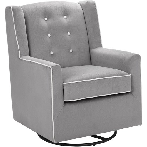 Baby Relax Emmett Button Tufted Swivel Glider Graphite Gray