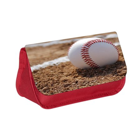 Baseball Pencils (Baseball in the Gravel - Boys / Girls Red Pencil Case with 2 Zippered Pockets and Velcro)