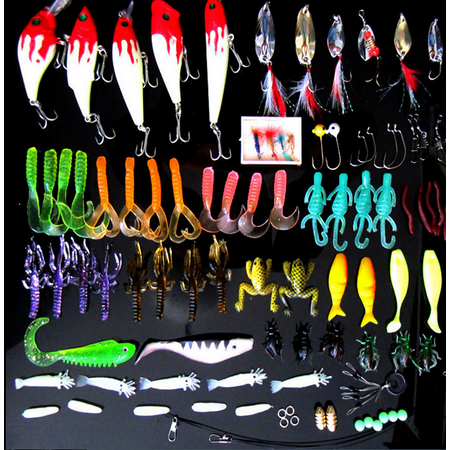 100PCS Fishing Lures Kit Fishing tackle box Lures Crank baits Hooks Minnow Bass Baits Tackle+Box thumbnail
