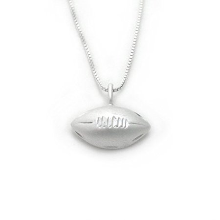 - Sterling Silver Football Charm on Chain Necklace