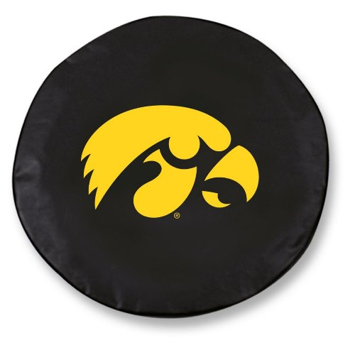 NCAA Tire Cover by Holland Bar Stool - Iowa Hawkeyes, Black - 21.5 L x 8 D