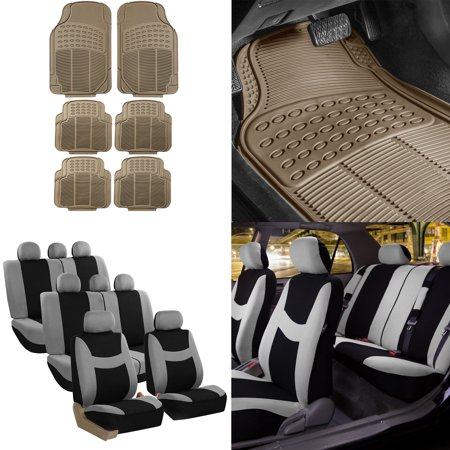 8 Weathered Seat (FH Group, 3 Row 8 Seaters Gray Seat Covers Combo w/ Beige All Weather Floor Mats Set )