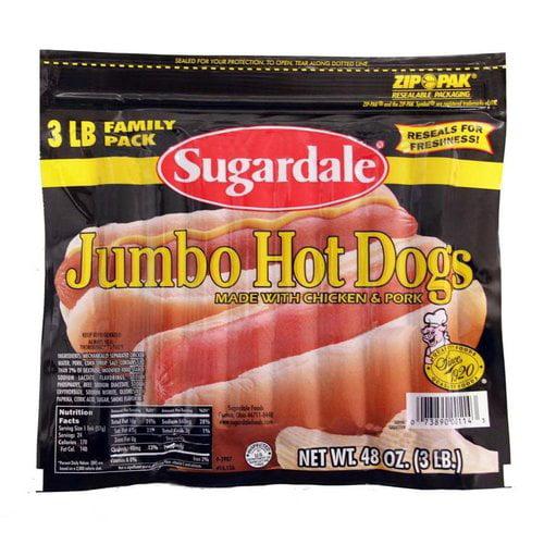 Sugardale Jumbo Hot Dogs, 3 lb