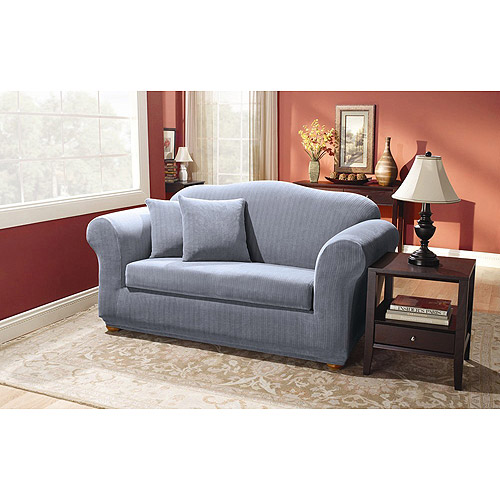 Sure Fit Stretch Pinstripe 2 Piece Loveseat Slipcover