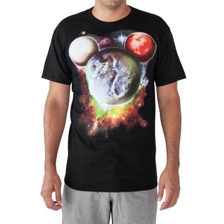 Mickey Mouse Planets Men's Graphic T-Shirt - Black (Planet Of The Apes Shirt Men)