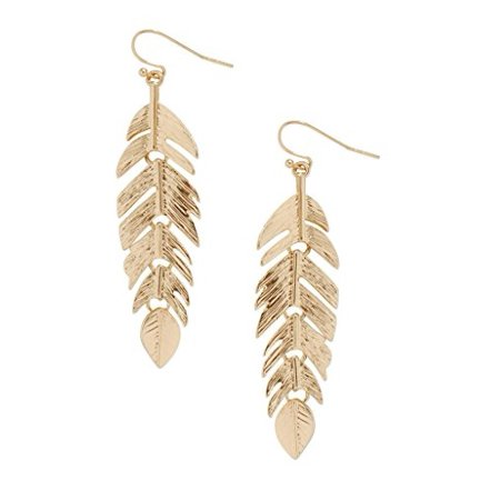 Floating Feathers Dangle Earrings - Long Hanging Metal Link Leaf Drops by Humble Chic NY, Gold-Tone