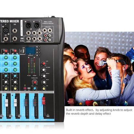 Live Sound Console - CT6 6 Channel Professional Stereo Mixer Live Audio Sound Console Vocal Effect Processor with 4-CH Mono & 2-CH Stereo Input