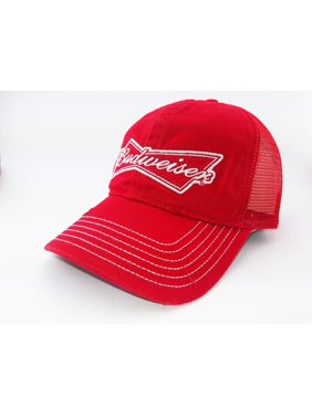 9ee6ca56b1c Product Image Budweiser Distressed Mesh Snapback Red Relaxed Hat Cap  Trucker Beer Malt Liquor