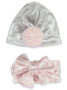 Catherine Malandrino Baby Girls' Velour Turban Hat & Headband Set