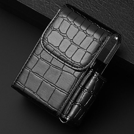 Metal Cigarette Holder - KABOER PU Leather Cigarette Case Tobacco Pouch Box Lighter Holder Storage Container Hot