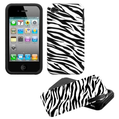 iPhone 4s case by Insten Zebra Skin Fusion Case For iPhone 4/4S